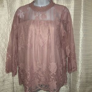 NEW YORK & COMPANY Lacy Blouse in Mauve